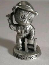 "1983 Avon Solid Pewter Miniature School Bear ""Hard at Work� 2� Tall"