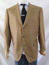 BRIONI flawed 100% cashmere tan brown plaid herringbone blazer coat jacket 44