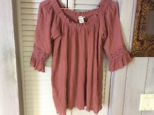 Womens 2X top/blouse peasant/boho off the shoulder 3/4 sleeve blouse rose rust