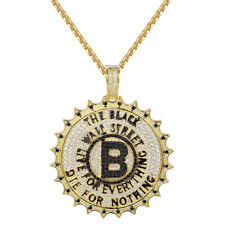 The Black Wall Street Pendant 14k Gold Finish Black Simulated Diamonds Chain New