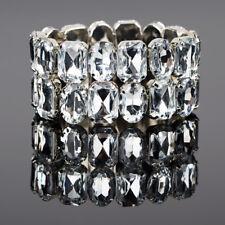Breit Armband Manchette Strass Armreif Xl Silber Farbe  Kristall Elastisch