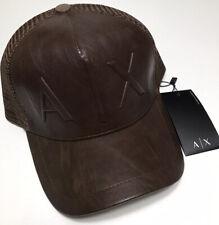 Armani Exchange Baseball Hat - Men's New Mesh Leather Bent Brim Designer Cap