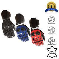 Leather Motorcycle Gloves Motorbike Waterproof Windproof Winter Thermal Biker