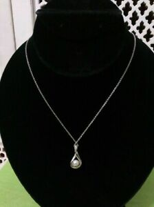 """KAY JEWELERS STERLING SILVER 18"""" NECKLACE WITH PEARL & DIAMONDS NIB"""