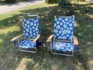 2 Copa Plus Beach Adjusts Folding Carrying Aluminum Chairs Floral Print, Blue