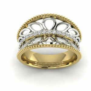 14k Yellow Gold Two Tone Anniversary Gift Fine Band Ring For Women Filigree