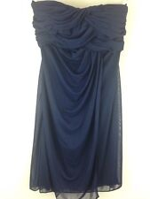 Davids Bridal Womans Size 4 Strapless Navy blue Formal Evening Bridesmaids Dress