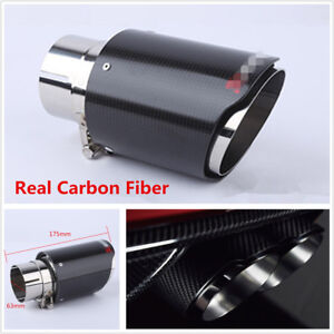 1x Real Carbon Fiber Glossy Car Exhaust Pipe 63mm-89mm Universal Muffler End Tip