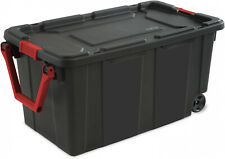 Sterilite 40 Gal Wheeled Industrial Tote BOX Case Black SET of 2 NEW Storage Box