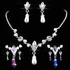 Set Perlen Strass Collier Ohrringe Hochzeit Braut Kette Tropfen Perlencollier