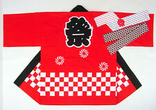 Japanese Matsuri Festival Happi Kimono Hanten Red w/Hachimaki Headband Size:M