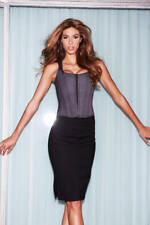 Baci Lingerie Suit Inspired Tank Corset w/ Pinstripes & Lace Up Back, XL, Gray
