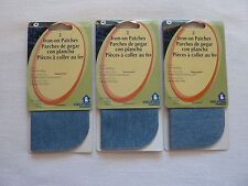 """Iron on Denim Patches Light Blue 6 Pieces Sew Repair Mend Jeans 5"""" x 5"""""""