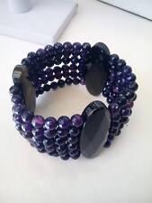 Bracciale donna agata nera e ametista viola  idea regalo Bracelet stone