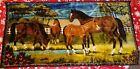 "🐴 Vtg WALL TAPESTRY WILDLIFE HORSES PONY PASTURES 40"" X 19"" DENVER IMPORTING"