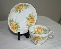 Vintage Melba Bone China Cup & Saucer - Yellow Rose - England