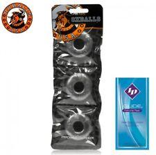 Oxballs Ringer 3 Pack Silver Small Penis Rings Erection Enhancer FREE LUBE