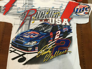 VINTAGE NASCAR Total print Shirt RUSTY WALLACE Miller Racing Med Rocking The USA