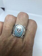 Vintage Southwestern Silver White Bronze 11.75 Men's Inlay Turquoise Skull Ring