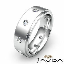 Round Diamond Eternity Mens 9mm Wedding Band Step Edge Ring Platinum 950 0.60Ct