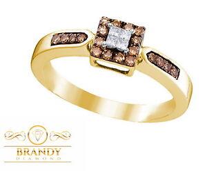 Brandy Diamond® Chocolate Brown 10K Gold Lovely Elegant Princess Design Ring