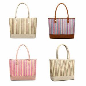 Large Ladies Beach Bag Valise Straw Bag Rattan Women Wicker Shoulder Tote Bag