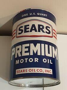 VINTAGE 60's SEARS PREMIUM MOTOR OIL QUART METAL OIL CAN NO LID UNUSED