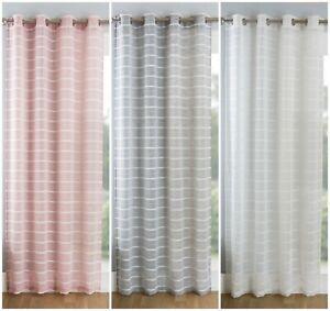 Linen Look Stripe Plain Net Curtain Eyelet Ringtop Window Drape Single Panel