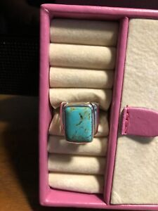 Vintage Barse large sterling silver and turquoise ring size 8