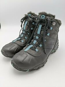 Merrell Atmost Boots Waterproof Lace Up Leather Rubber Black Blue Womens 6