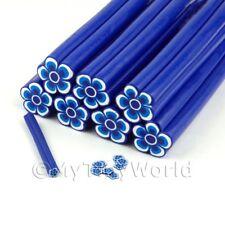 Dulces caña de Flor Azul Arte en Uñas y joyas Unc09