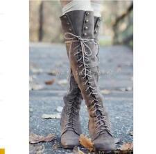 Schnür-Stiefel Damenschuhe Retro Flach Kniehohe Stiefel Runde Zehe Overknee Boot
