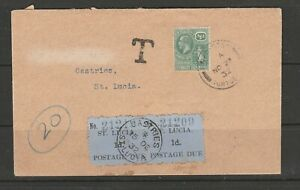 St Lucia 1932 Cover with 2 x 1d Dues, Panton cover, From British Virgin Islands