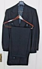 Chiavari Blue Black Wool Double Breasted Suit Pants Jacket Size 38 Made In Italy