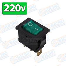 Interruptor ON OFF con luz 220v VERDE rectangular cuadrado SPST 6A 220v