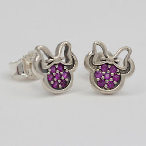 New Authentic Pandora Earrings Disney Minnie Stud 290580CZR With Suede Pouch