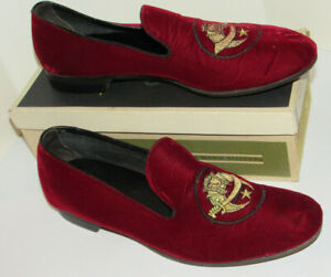 VTG 1960S EVANS SLIPPERS EMBROIDERED WITH SHRINER LOGO! W/BOX! LEATHER SOLE! 11