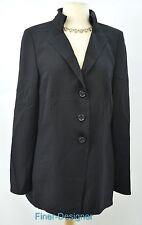 AKRIS Duster light coat Jacket Long Blazer year round wool blend black VTG M L