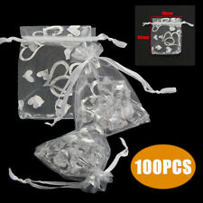 100pcs 7x9cm Heart Organza Wedding Party Favor Gift Candy Bags Jewelry Pouches