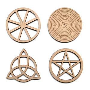 Wooden MDF Wiccan Pentagram Triquetra Symbols Shapes Craft Embellishment Signs