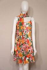 Kay Unger 100% SIlk Floral Dress w/ Scarf/Shawl/Wrap 2-piece size 4
