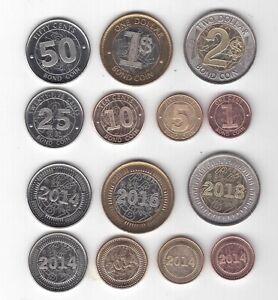ZIMBABWE 7 DIF UNC COINS FULL SET 1 BOND - 2$ 2014 - 2018 YEARS BIMETAL