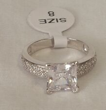New Womens Jewelry .925 Sterling Silver Square Cubic Zirconia Ring Ladies Size 8