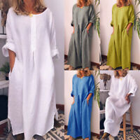 Women Kaftan Cotton Linen Long Sleeve Solid Loose Casual Shirt Maxi Dress Comfy