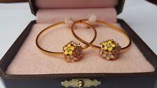 Gold Plated Earrings By Juicy Couture Hoop Flower Cluster - Pastel Flowers