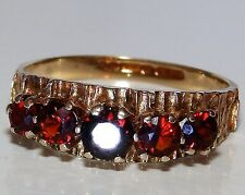 9CT YELLOW  GOLD ROUND GARNET ETERNITY  RING SIZE O  2.3g
