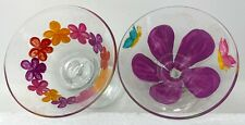 Pair (2) Of Hand-Painted Martini Glasses Flowers Butterfly Pink Purple Orange