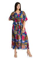 Blue Cotton Casual New Printed Maxi Dress Wear Boho Indian Long Kaftan Maxi