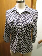 J.Mc Laughlin Navy & White  3/4 Sleeve Button Front Knit Top Size M