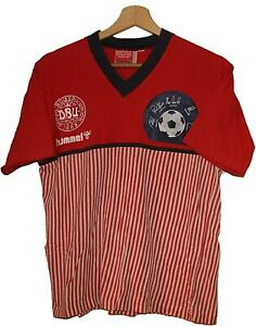 1986 MEXICO World cup DENMARK Football SHIRT Jersey HUMMEL size M WOMEN Tricot